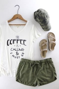 The Coffee is Calling Tee  The Rollin' J  cute coffee saying   graphic tee   casual   comfy   cute  style   fashion   olive green    Camo hat   therollinj.com