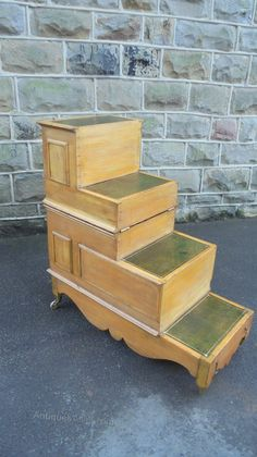 antique pine metamorphic library steps