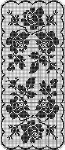 How to a Beautiful Rose Flower in Filet Crochet: Filet Crochet Rose Chart Filet Crochet Charts, Crochet Motifs, Crochet Borders, Crochet Cross, Crochet Home, Thread Crochet, Easy Crochet, Crochet Stitches, Knit Crochet