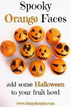 Creative Drawing Kids will love these Spooky Orange Faces! An easy, fun and healthy way to add a bit of Halloween to your fruit bowl. ~ Danya Banya - Make your own Spooky Orange Faces and add some Halloween to your fruit bowl. Halloween Party Snacks, Halloween Desserts, Halloween Brownies, Halloween Fruit, Hallowen Food, Healthy Halloween Treats, Halloween Treats For Kids, Fete Halloween, Halloween Goodies