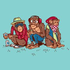 Three Wise Hipster Monkeys Art Print