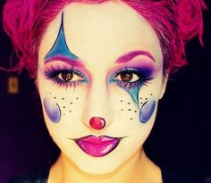 15 Easy-Clown Halloween Makeup Ideas – 2019 – Make-Up Hacks Jester Makeup, Mime Makeup, Costume Makeup, Makeup Geek, Makeup Art, Makeup Remover, Clown Halloween, Halloween Makeup Looks, Halloween Make Up