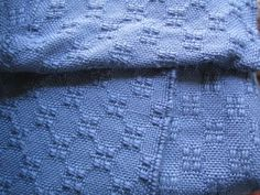 Blue huck lace scarf handwoven