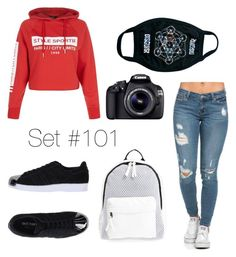 """""""No Name"""" by emma-natalie ❤ liked on Polyvore featuring New Look, adidas Originals, MYVL, Poverty Flats and Eos"""