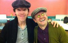 Benedict Cumberbatch and Martin Freeman during Sherlock read-through
