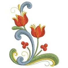Ace Points Embroidery Design: Rosemaling Floral 3.87 inches H x 2.97 inches W