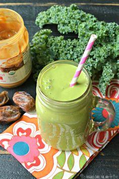 This PB Green Smoothie tastes like dessert, & looks like a shamrock shake! via @veggiessave