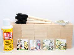 Vintage Winnie The Pooh  DIY Block Kit  Baby by Booksonblocks
