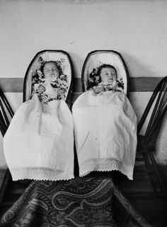""".  ca. 1886, """"Twin Infants in Coffins"""", [Robert and Janet Fitzpatrick, b. July 5, 1885, d. April 20, 1886], Charles Van Schaick    via the Wisconsin Historical Society, Charles Van Schaick: Photographs And Negatives Collection"""