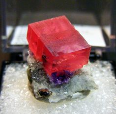 mineralists:  Rhodochrosite on Quartz matrix with Fluorite and PyriteSweet Home Mine, Colorado