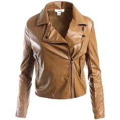 Sans Souci Cognac vegan leather moto jacket (220 SAR) ❤ liked on Polyvore featuring outerwear, jackets, cognac, vegan moto jacket, fake leather jacket, faux leather biker jacket, brown motorcycle jacket and biker jacket