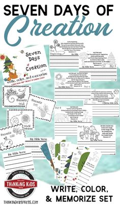 Teach your kids about the seven days of Creation in order with this Write, Color, and Memorize set of Bible Verses about Creation! Bible Verses For Kids, Bible Crafts For Kids, Bible Study For Kids, Verses For Cards, Bible Lessons For Kids, Kids Bible, Creation Bible, Days Of Creation, Homeschool Kindergarten