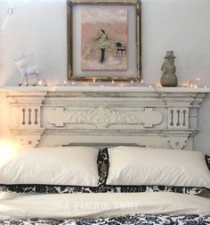 Charming headboard made from an old fireplace mantel painted Shabby white