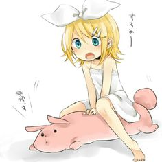 Credits to the Awesome Artist - Kagamine Rin from VOCALOID 2 ((Chibi Style with fluffy doll))