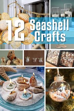 12 Seashell Craft Ideas These excellent seashell crafts come to you, direct from the sea, or perhaps at second hand from being picked up on the beach, and brought to your home by a child or spouse who's been smitten with the grandeur and raw beauty of the Seashell Art, Seashell Crafts, Beach Crafts, Diy And Crafts, Arts And Crafts, Crafts With Seashells, Beach Themed Crafts, Seashell Candles, Summer Crafts