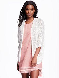 Slub-Knit Open-Front Sweater for Women