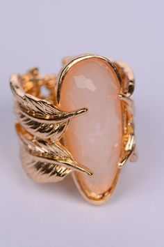 Double Leaf Ring, Gold/Nude