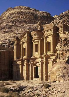 The Monastery in ancient Petra, Jordan. This structure of classical Greek-influenced architecture is one of many carved out of a sandstone rock face. UNESCO described Petra as one of the most precious cultural properties of mans cultural heritage. Smithsonian Magazine rated it one of the 28 Places to See Before You Die. http://pinterest.com/pin/156570524517694570/