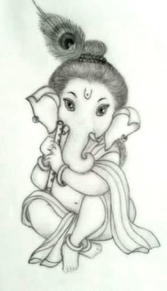 Ganesha Sketch, Ganesha Drawing, Lord Ganesha Paintings, Ganesha Art, Ganpati Drawing, Girl Drawing Sketches, Art Drawings Sketches Simple, Cute Drawings, Pencil Sketch Drawing