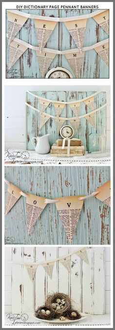 Free Printable Dictionary Pages Pennant Banner from Knick of Time Paper Banners, Pennant Banners, Banner Letters, Free Printable Banner, Free Printables, Book Page Crafts, Shabby Vintage, Vintage Farmhouse, Vintage Bunting