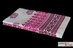 Pretty pink paisley block printed bedsheet
