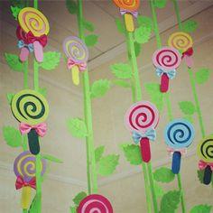 商场超市 幼儿园装饰挂饰 班级教室走廊布置材料彩色棒棒糖吊饰