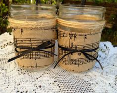 Decorated mason jar, music themed, home decor, candleholders, sheet music burlap