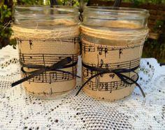 Decorated mason jar, music themed, home decor, candleholders, sheet music burlap