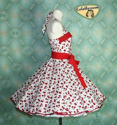 50s vintage dress full skirt white with red cherries perfect for a petticoat Tailor Made. $99.00, via Etsy.