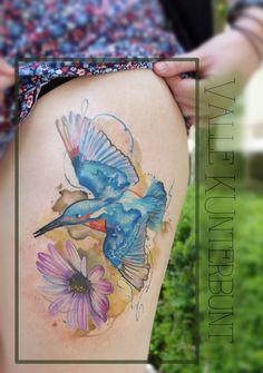 Eisvogel Tattoo Kingfisher Tattoo Art Videos For Kids, Artists For Kids, Watercolor Tattoo, Watercolor Paintings, Watercolour, Kingfisher Tattoo, Future Tattoos, Bird Art, Art Girl