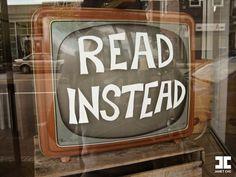 Read Instead on TV in bookstore in Cambridge, MA