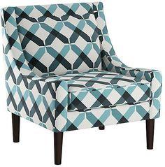 One Kings Lane Scarlett Accent Chair - Teal Linen