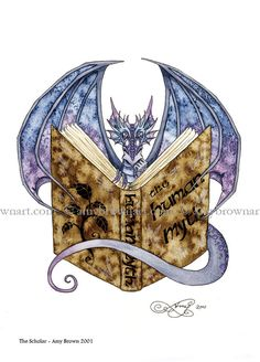5x7 The Scholar bookworm dragon PRINT by Amy Brown by AmyBrownArt on Etsy https://www.etsy.com/listing/501313802/5x7-the-scholar-bookworm-dragon-print-by