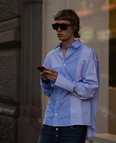 Huuko Koski Milan Fashion Week Street style by Alexander Luque Milan Fashion Week Street Style, Menswear, Mens Fashion, Shirt Dress, Model, Mens Tops, How To Wear, Shirts, Dresses