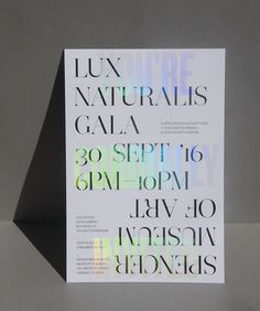 The clear holographic foil of Design Ranch's invitation enticed guests to the Spencer Museum of Art's reopening gala. Holographic Print, Holographic Foil, Print Design, Web Design, Communication Art, Print Layout, Design Graphique, Typography Poster, Graphic Design Typography