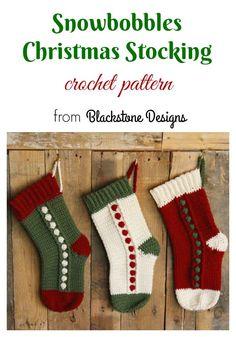 Snowbobbles Christmas Stocking crochet pattern from Blackstone Designs Crochet Christmas Stocking Pattern, Crochet Stocking, Crochet Gifts, Free Crochet, Knit Crochet, Holiday Crochet, Ravelry, Knitting Patterns, Crochet Patterns