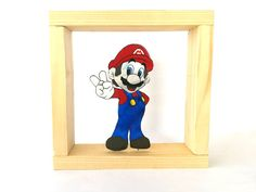 Καδράκι Souper Mario, από αλουμίνιο, ζωγραφισμένο στο χέρι.