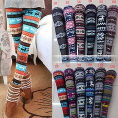 Tribal Nordic Aztec Reindeer Pants Tights Leggings Skinny Print High Waist Knit