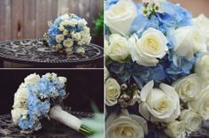 white and light blue wedding flower bouquet   photo by Kreative Angle Photography
