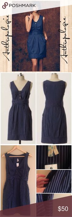 """Anthropologie Maeve Fifth form shift dress 2 Anthropologie Maeve Fifth form sleeveless shift dress in navy and white. Side zipper, V-neck with brass buttons that do open, faux belted bow waist, banded hem and side pockets! So cute! 100% cotton; fits true to size. Still has store tag, but not price tag. 25"""" flat armpit to armpit & 36"""" shoulder to hem! Bundle & save; make offers 💖 Anthropologie Dresses Midi"""