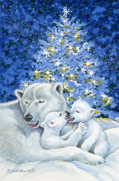 Bear Hug Painting by Richard De Wolfe - Bear Hug Fine Art Prints and Posters for Sale Blue Christmas, Christmas Snowman, Christmas Time, Merry Christmas, Christmas Projects, Vintage Christmas, Mother's Day Clip Art, Tres Belle Photo, Xmas Wallpaper