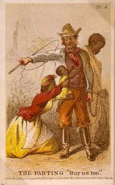 """""""The Parting - 'Buy us too.'"""" - An illustration of a male slave being separated from his family, 1863.  Artist: Henry Louis Stephens"""