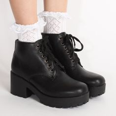 Ark Black Lissy Lace Up Chunky Boots #black #laceup #chunky #90s #grunge #boots
