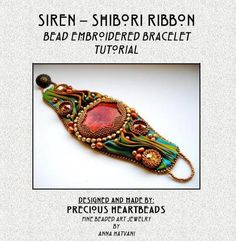 Shibori TUTORIAL  (Instructions only) - Shibori Bead Embroidery Bracelet Cuff Shibori Ribbon - SIREN
