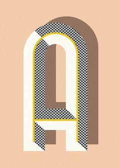 Bau Deco Letter Posters by Ferm Living. Typography Letters, Typography Poster, Graphic Design Typography, Lettering Design, Graphic Design Illustration, Japanese Typography, Design Illustrations, Illustrations Posters, Design Graphique