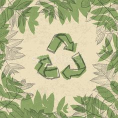 Stock photo: Recycle symbol, printed on reuse paper. In frame of leaves. Discount Magazines, Recycle Symbol, Old Farmers Almanac, Recyle, Home Organization Hacks, Repurposed, Plant Leaves, Royalty Free Stock Photos, Old Things