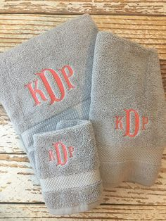 Monogrammed Towel Set Personalized Towels Bath Towels