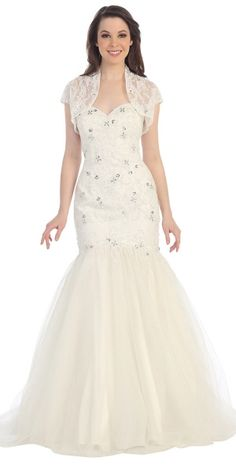 A pure and beautiful sweetheart, mermaid-style gown with crystal gem embelishments covering frame and tulle material covering bottom of dres...
