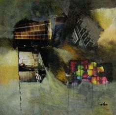 """Untergang"", Collage mit Gouache, Acryl 40x40"