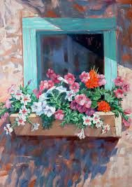 Okay, I have an idea: We build window boxes out of pallets and paint tromp l'oeil flowers on the fro Window Box Flowers, Window Boxes, Flower Boxes, Pinterest Arte, Watercolor Flowers, Watercolor Art, Paint And Sip, Window Art, Painting Plastic